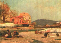 nice, lavandières dans le paillon devant le pont barla by alberto vianelli