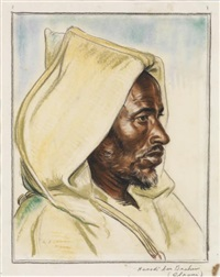portrait de hamadi ben brahim glaoui by louis john endres