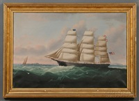 portrait of the american clipper ship helen clinton captain stephen c. spra gue, master. by william howard yorke