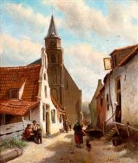 straatje bij de oude kerk van scheveningen by jan geerard smits