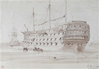 an album of sketches mainly of marine scenes including a sketch of the temaraire being towed to deptford to be broken up (album w/c.33 works) by edward duncan