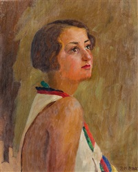 figura di donna; paesaggio alpi apuane by maria bacci-baccio