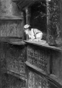 at the balcony by alexandre-louis leloir