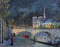les quais de la seine, notre-dame, paris, soir d'automne by jacques camus