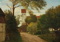 village scenery with a church by hans ludvig smidth