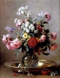 sill life with flowers and cherries by gustave emile couder