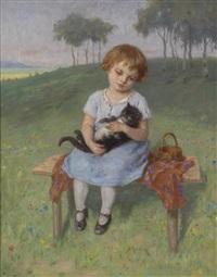 mädchen mit einer katze by simon glücklich