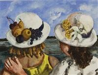 two women on the shore by natalia nesterova
