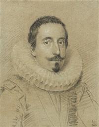 portrait of a gentleman, wearing a ruff by ottavio maria leoni