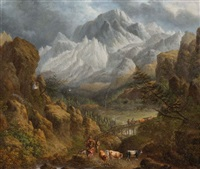 a drover and cattle fording a bridge in a mountainous landscape by charles towne