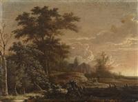 bewaldete landschaft mit einem dorf by adriaen hendricksz. verboom