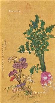 花卉 立轴 绢本 by jiang tingxi