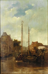 a dutch harbour by cornelis petrus t' hoen