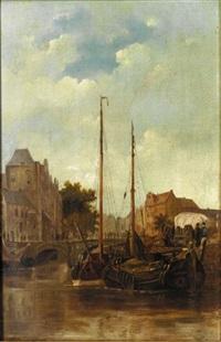 a dutch harbour by cornelis petrus t' hoen