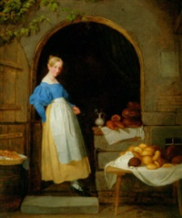 a young woman selling bread by johann friedrich karl kreul