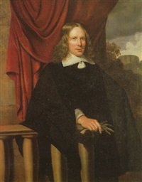 portrait of a gentleman wearing a black coat fastened with a white tassel, a white linen collar and cuffs by peeter meert
