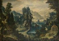 paysage montagneux animé de chasseurs by tobias verhaecht