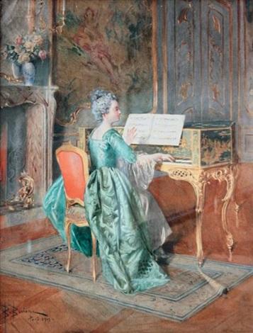la femme au clavecin by bernard louis borione