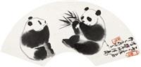 熊猫 镜心 水墨纸本 by wu zuoren