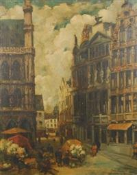 marché de fleurs sur la grand place de bruxelles by jean van cleemput
