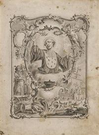 s. joan cantius - der heilige mit ausgebreiteten armen in reich ornamentierter kartusche mit segelschiff, figürlichen und kriegshandwerklichen elementen by vitus felix rigl