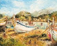 fishermen's boats at port de la seva, spain by tessa perceval