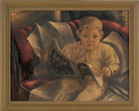 untitled (portrait of a young boy reading a fairy tale book) by edward l. loper
