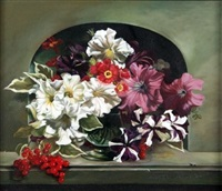 still life of mixed flowers in a vase on marble ledge by michelle bennett oates