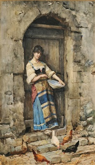 portrait of a woman feeding chickens by publio de tommasi