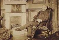 stéphane mallarmé, assis sur un fauteuil à bascule devant une cheminée by paul marsan dornac