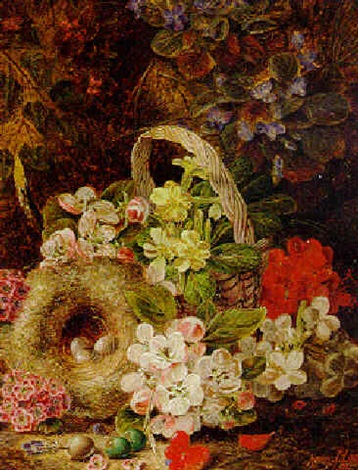 hawthorn apple blossom and other flowers a basket and birds nest on a mossy bank by henry j livens