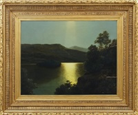 summer moonlight, ellen's isle loch katrine by james burrell smith