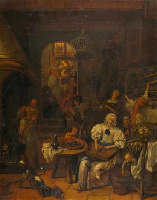 küchenstillleben mit christus bei martha und maria by jan steen