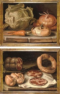 onions, a cabbage and a carrot on a stone ledge (+ coppa ham and bread on a stone ledge; pair) by giuseppe da cento artioli