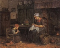 a mother sewing and a child playing with her doll by jules eduard mendes