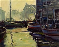 cape ann harbor scene by russ webster