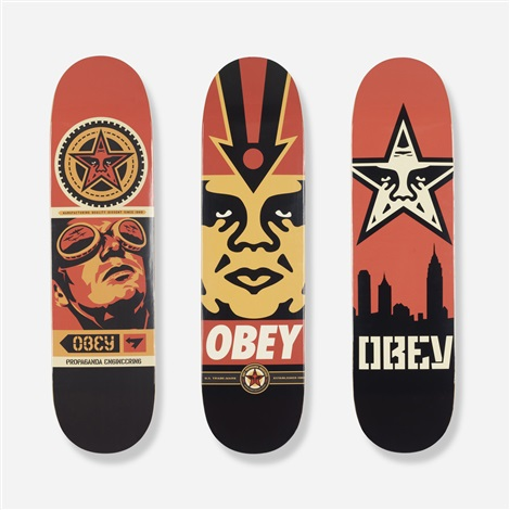 skateboard decks set of 3 by shepard fairey