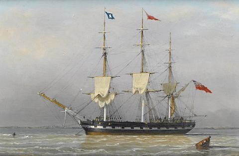 a three masted merchantman anchored in the humber signalling that she is preparing to sail by j ward