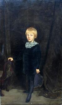 portrait d'un jeune garçon portant un col blanc by antonio de la gandara