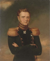portrait of grand duke mikhail pavlovich, waist length, in military dress by george dawe