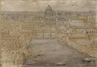 vue de rome avec le pont saint-ange enjambant le tibre, la basilique saint-pierre au fond et le château saint-ange à droite by lievin cruyl