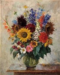 gartenblumen in vase by otto vaeltl