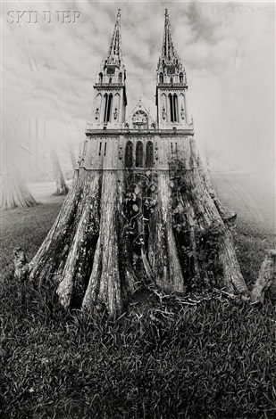 untitled double spired stump by jerry uelsmann