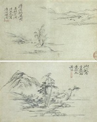 landscape after an ancient master (2 album leaves) by hongren