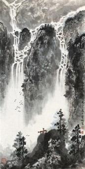 泉声乱溪风 (landscape) by liu baochun