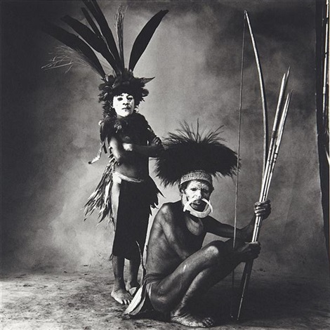 new guinea man and child with white faces by irving penn