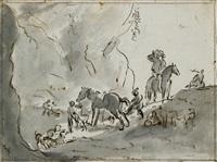 jagdgesellschaft mit hunden vor felslandschaft mit dem pissenden pferd (+ dog studies in chalk, verso) by dirk stoop