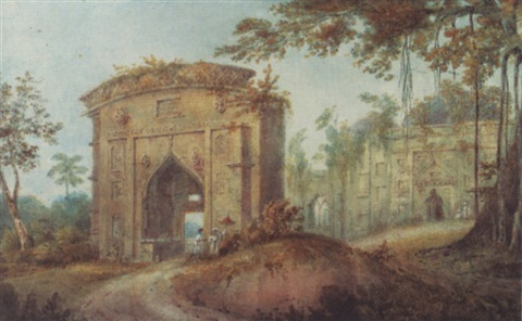 views of india buildings near kadjipur by edward hawker locker