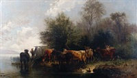 cattle watering (+ another; pair) by j. jean