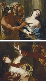 the martyrdom of saint agatha (+ the martyrdom of saint bibiana; pair) by stefano maria legnani